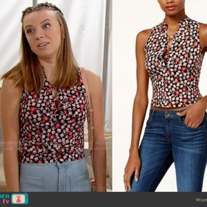 GUESS Floral Lace Up Crop Top NWT Small
